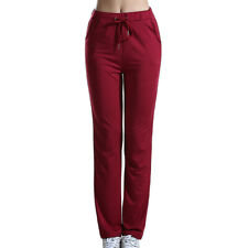 Womens High Elastic Waist Stretch Straight Leg Solid Casual Long Pants Trousers