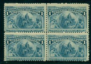 US #230, 1¢ deep blue, Block, of 4, og, 2NH/2LH, F/VF Scott $94.00