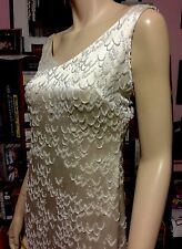 Vintage KAY UNGER NEW YORK 100% SILK WEIGHTED HEAVY BEADED IVORY GOWN BRIDAL XS