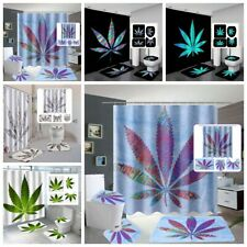 Colorful Marijuana Leaves Bathroom Shower Curtain Bath Rug Toilet Seat Cover Set