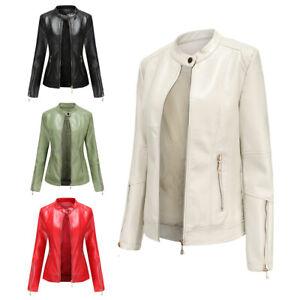 Women Pu Leather Jacket Zip Up Biker Stand-up collar Slim Blazer Coat Outwear