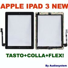 VETRO+TOUCH SCREEN per APPLE IPAD 3 NEW TASTO BIADESIVO DISPLAY NERO A1416 A1430