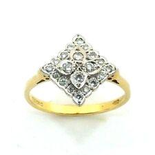 Mujer 18ct 18 Quilates Oro Anillo Pedida Diamante Cluster Talla RU N 1/2