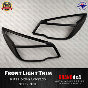 Matte Black Front Light Trim Cover Surrounds for Holden Colorado 2012-2016