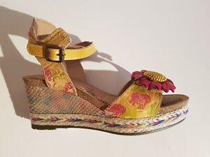 Laura Vita ALCBANEO241 Damen Leder Schaft-Sandalen Farbe multicolor Größe 38 NEU