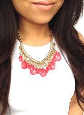 Coral Pink Gold Teardrop Crystal Rhinestone Fashion Statement Necklace
