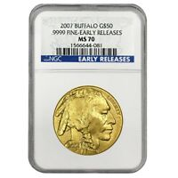 2007 1 oz $50 Gold American Buffalo NGC MS 70 Early Releases