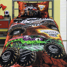 Monster Jam El Toro Loco Grave Digger Mutt Maximum D - Twin Bed Quilt Cover Set