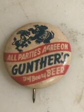 """Gunther'S Beer """"Donkey & Elephant"""" Political Pin - Baltimore, Md - 1 Inch"""