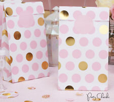 PINK AND GOLD PARTY BAGS x 5 - BIRTHDAY PARTY / BABY SHOWER