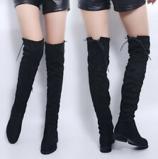 Winter Over The Knee Boots Sexy Womens Ladies Stretch Warm Flat Shoes Drawstring