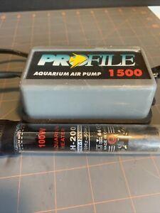Aquarium Heater 100W Watts Submersible & Profile 1500 Aquarium Air Pump
