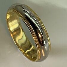 fd8519246 TIFFANY Classic Platinum 18K Two Tone 6mm Milgrain Wedding Band Ring 11.5  $2,325