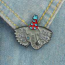 Hn- Women Men Elephant Letter Enamel Collar Lapel Pin Badge Brooch Jewelry Decor
