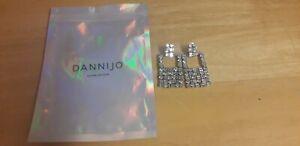 DANNIJO Square Shape Dangling Rhinestone Earrings New