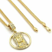 "Mens 14k Gold Plated Ring Jesus Face Cz Pendant Hip-Hop 30"" 3mm Cuban Chain"