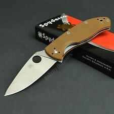 Spyderco Tenacious 8Cr13MoV Plain Edge Brown G-10 Folding Knife C122GPBN