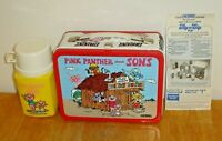 Vintage 1984 Pink Panther and Sons Metal Lunchbox w/ Thermos, Paper Etc. Unused!