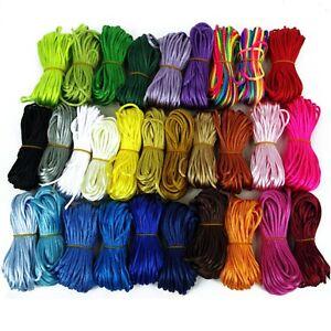 Silky Satin Rattail, Kumihimo ,Braiding, Cord 2 mm Thickness Macramé Thread 10m