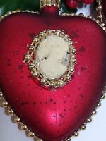 VTG Christmas Ornament HEART w/ Cameo burgundy Red Gold accent SHATTERPROOF