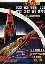 Transsibirische Eisenbahn Paris Berlin Moskau Waldiwostok Peking Plakate A3 267