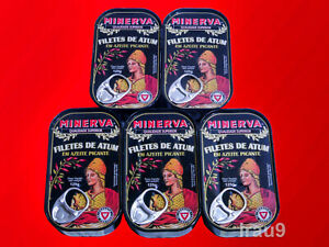 5 Cans Spiced Tuna Fish Fillets in Olive Oil Portuguese 125g Superior Quality