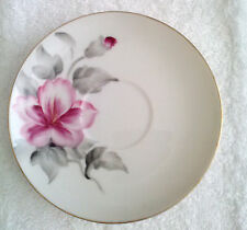 "Vintage Japan Ucagco China Saucer 4 5/8"" White with Pink Flowers and Gold Trim"