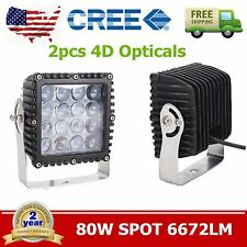 2pcs 80W 5.3inch CREE LED Work Light Spot 4D Opticals Offroad Jeep Square Truck