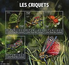 Central African Republic 2015 MNH Grasshoppers 4v M/S Insects Locusts Stamps
