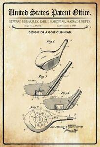 US Patent Golf Schläger Kopf Club Head 1949 Blechschild Tin Sign 20 x 30 cm