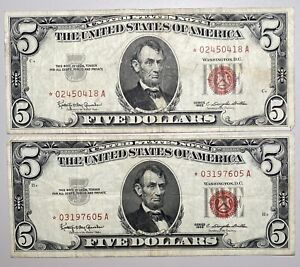 2- 1963 $5 United States Note, Red Seal **STAR** Notes