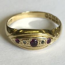Antique Solid 18ct Gold Hallmarked Diamond 5 Stone Dress Ring Size N 1924