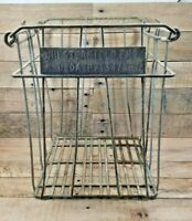 """Vintage Chesterfield Farms Dairy Metal Egg Milk Crate 15"""" Tall X 13"""" Square"""
