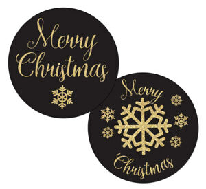 Merry Christmas stickers, black with gold coloured snowflakes 30 mm or 60 mm dia