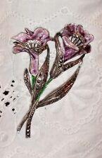 Vtg Lanvender Purple Enamel Lily Marcasite Sterling Silver Floral Brooch Pin