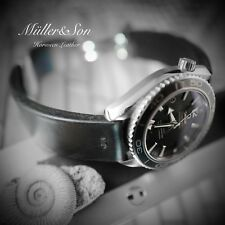 Müller&Son Horween Leather 20 mm Black Watch Strap HadleyRoma Style Buckle