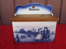 SALT BOX PORTE ALLUMETTES FAIENCE DELFT DECOR HOLLAND CIRCA 1920