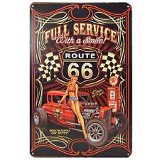 Route 66 Retro Metal Tin Sign Homewares Decor Vintage Pin Up Girl Garage Kustom