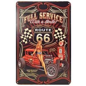 Route 66 Retro Metal Tin Sign Homewares Decor Vintage Pin Up Girl Garage Kustom