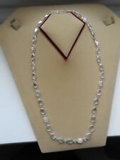 Sri Lanka-Silver White Moonstone 53.5 cm Long Double Link Necklace (23N2) (NEW)