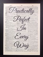 Mary Poppins Practically Perfect Gift Idea A4 Antique Dictionary Page Art #a2