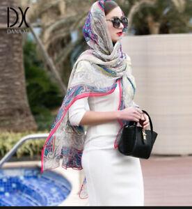 "Dana Xu Paisley Print 100% Silk X Large Scarf Cover Up Wrap, 40''/94""(102/240cm)"