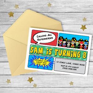 SUPERHERO Comic Any Age Birthday Invitation {Digital File} BOY Party Printable