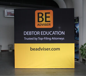 8ft protable pop up stand trade show display back wall with custom graphi print