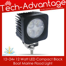 12V/24V BLACK 12 WATT BOAT/FLYBRIDGE/DECK/TRUCK/MARINE FLOOD WORK LED LIGHT