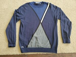 Lacoste Mens Sweater Navy Blue Size Large L (FR 5) Crewneck Pullover f8425 100%