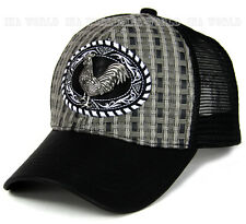 Straw woven hat Rooster Metal patched Mesh Trucker Snapback Baseball cap - Gray