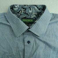 Inserch Icon Button Up Shirt Mens 2XL Blue Short Sleeve Jacquard Cotton Check