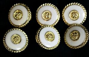 Vtg 80s Set of 6 Lion Center Buttons Shiny Cream Gold Tone Pattern Rim Gold Tone