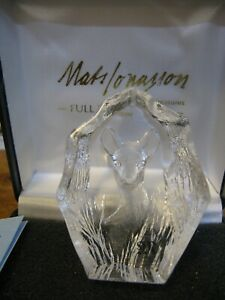 MATS JONASSON SWEDEN LEAD CRYSTAL FAWN SCULPTURE TREASURES COLL SIGNED BOXED